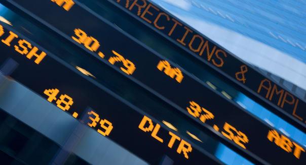 STOCK MARKET TICKER DISPLAY MANHATTAN NEW YORK CITY USA
