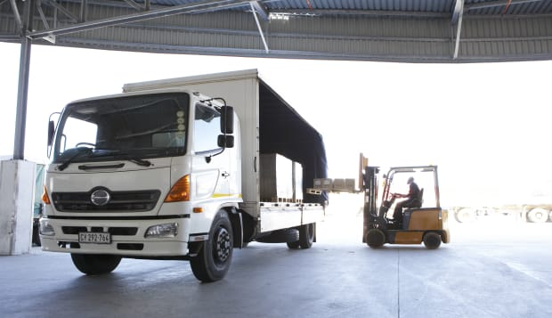 Fork lift truck loading lorry
