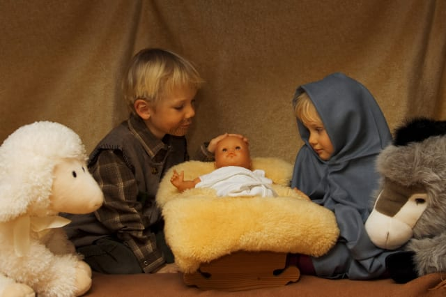 Children reenacting nativity scene