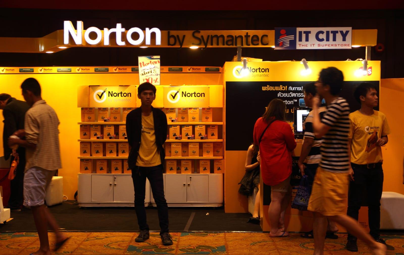 Norton anti-virus on display at the Commart Next-Gen 2014 in