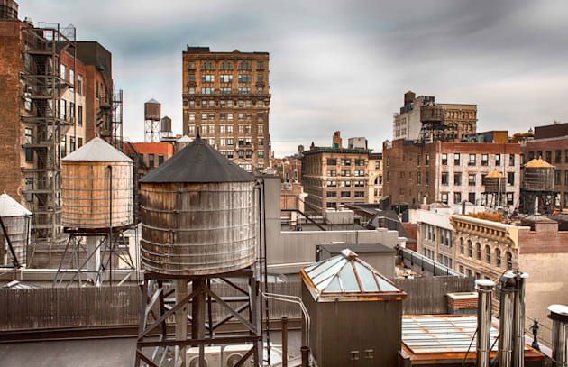 water towers in midtown...