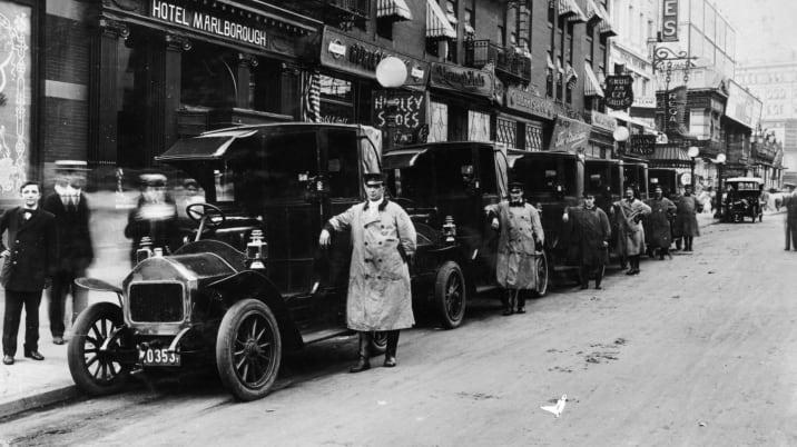 1910 Darracq taxis, New York, c1910.