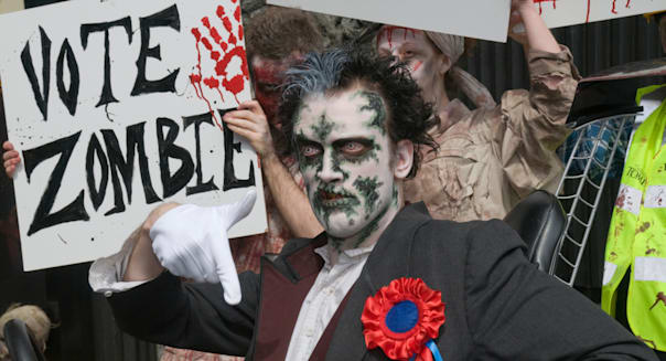 Vote Zombie - a publicity stunt 3 days before the London Mayoral Election