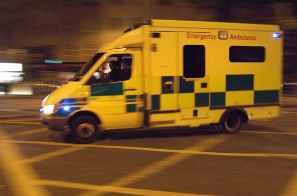 Ambulance speeding in London street