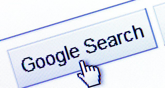 Macro computer screenshot of hand cursor hovering over the search icon / tab on the Google search engine. Editorial use only.