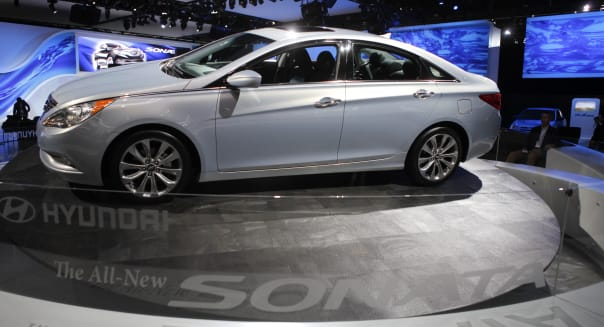 This Dec. 2, 2009 file photo shows the 2011 Hyundai Sonata at the Los Angeles Auto Show in Los Angeles. On Friday, Nov. 20, 2015, Hyundai is recalling nearly 305,000 Sonata midsize cars because the brake lights can stay on when the driver isn't stopping. The recall covers cars from the 2011 and 2012 model years. (AP Photo/Jae C. Hong)