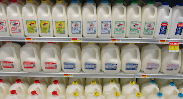 Large American Supermarket Dairy Case Milks whole milk skim