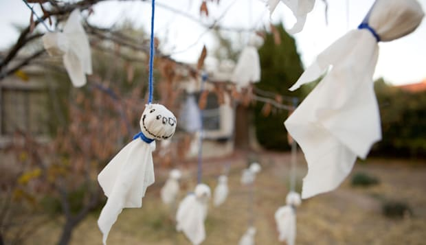 B7TXAR hand made ghost decorations hanging from a tree in front yard, Halloween decoration ghost; halloween; decoration; yard; s