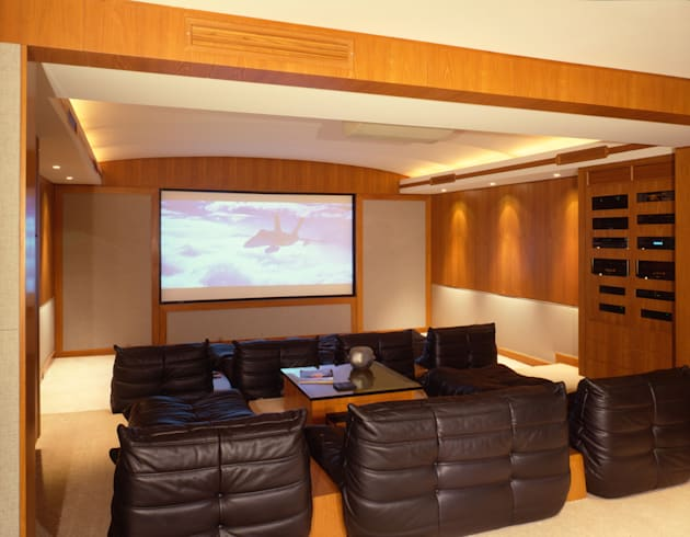 Home theater with leather seats