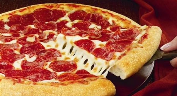 handout photo provided by Pizza Hut, shows a hand-tossed pizza. Pizza ...