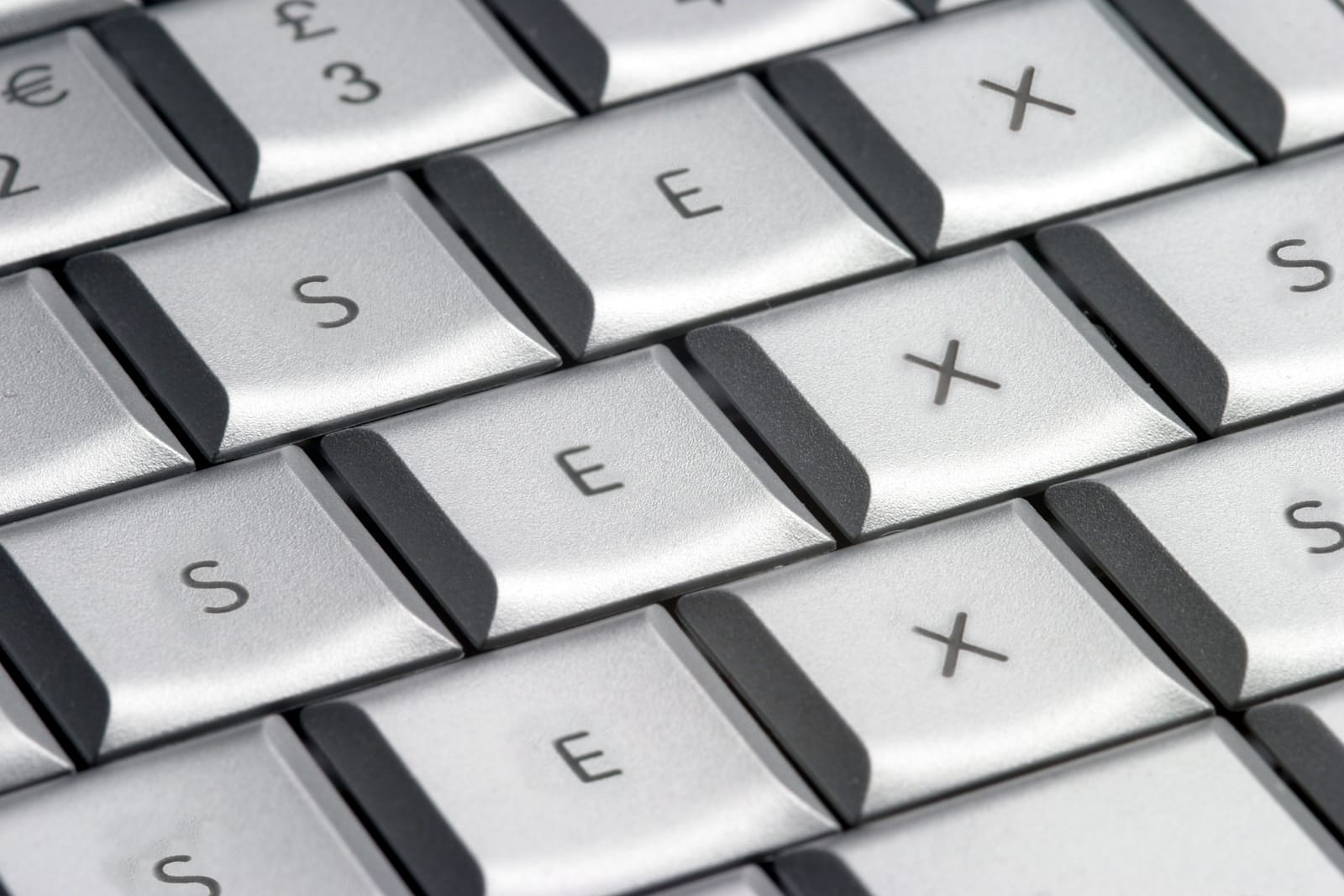Close up of a computer keyboard with all of the keys spelling out SEX