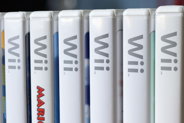 row of nintendo wii game cases in the uk