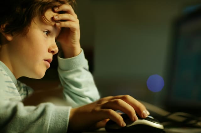 Young boy sitting at computer