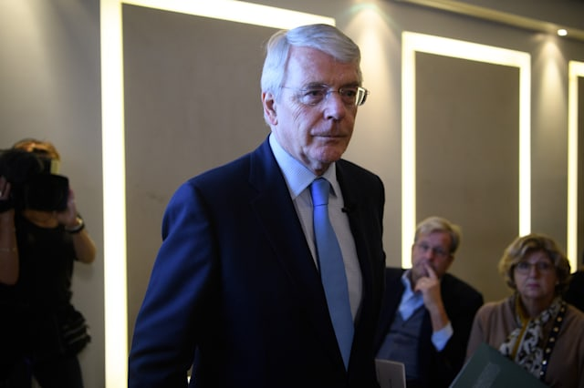 Sir John Major Delivers A Speech On Europe and Britain