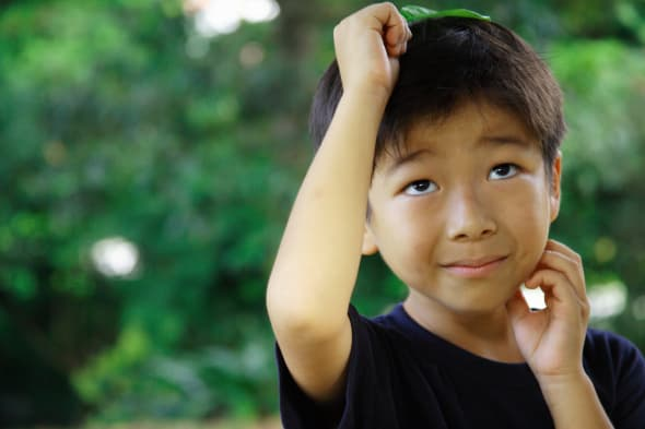 Boy holding a leaf over his head