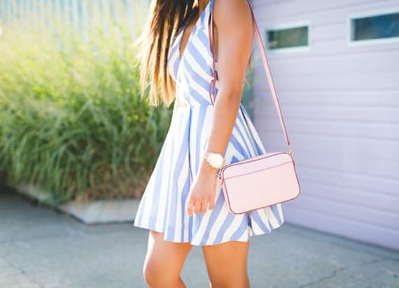 Stripe cutout dress
