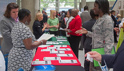 Detroit, Michigan. Veterans of the military look for jobs at Hiring Our Heroes, a job fair sponsored by the U.S. Chamber of Comm