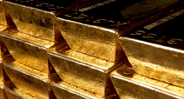 Gold bars ingots in the Gold vault under the Bank of England in Threadneedle Street London England