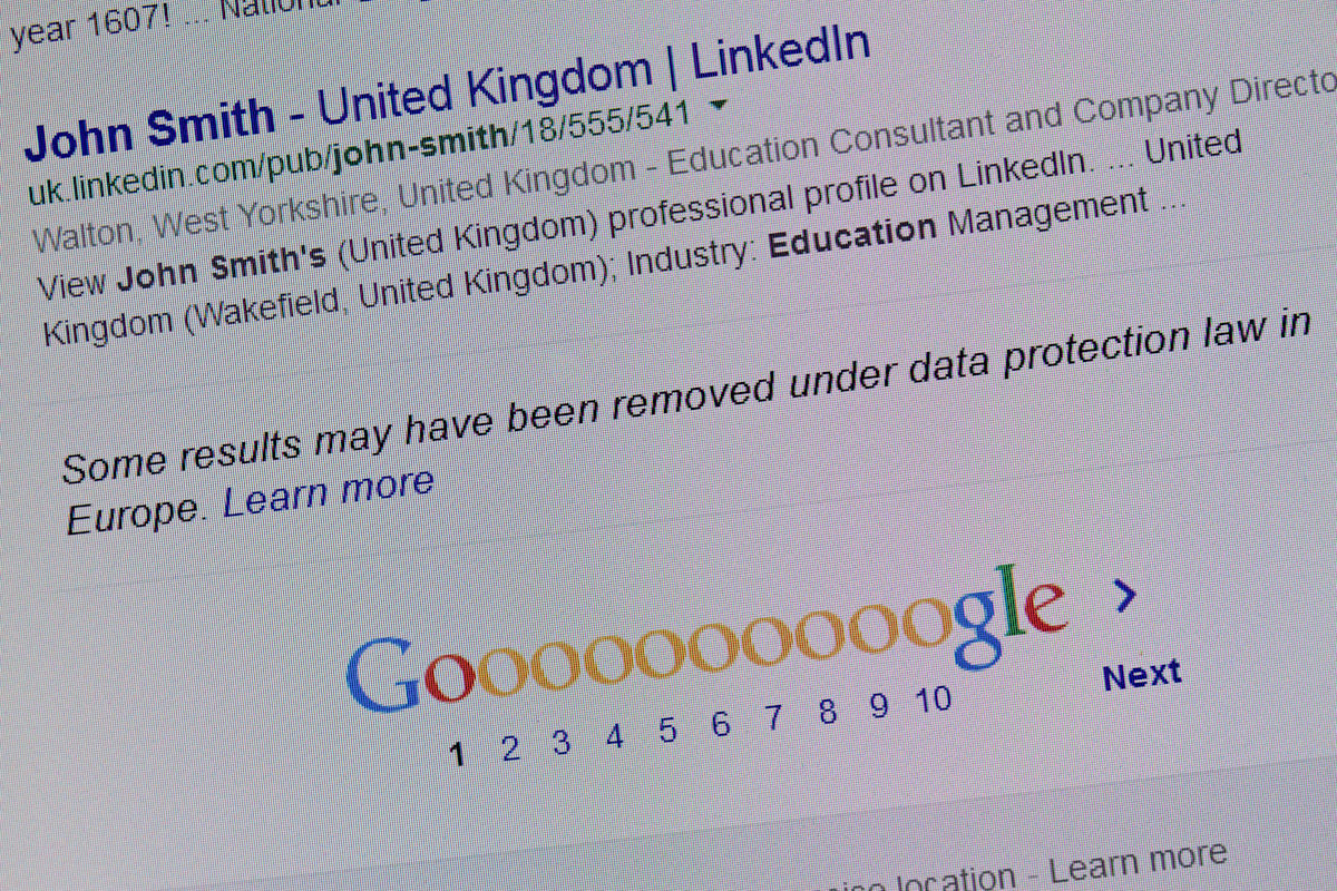 """Right to be forgotten"" Google search ""John Smith"", ""some results may have been removed under data protection law in Europe."""