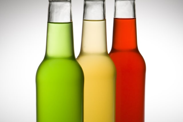 Colorful glass alcohol bottles
