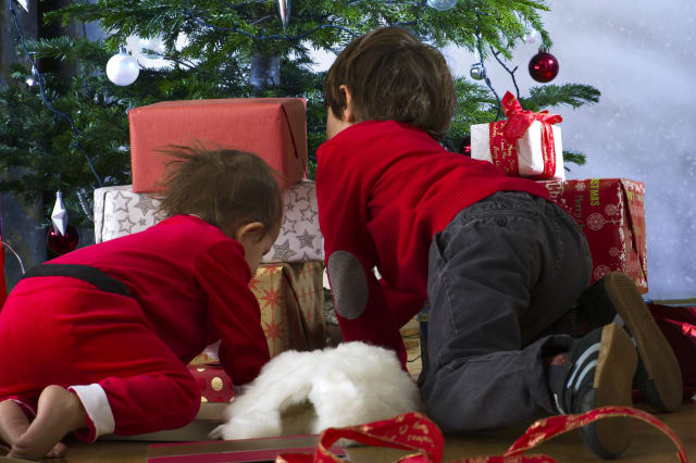 Young siblings kneeling before Christmas tree, opening presents, rear view