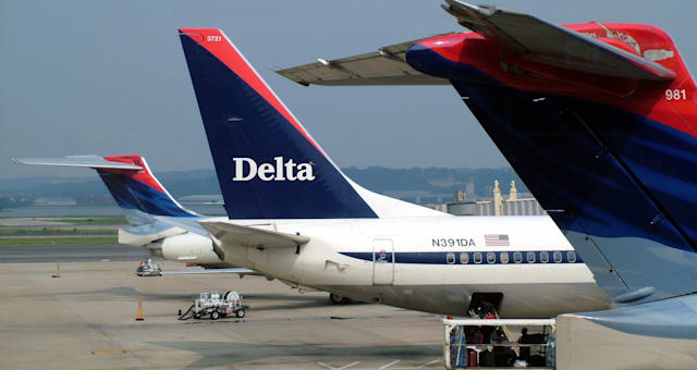 Aircraft Tail planes Showing Delta Airlines Logo