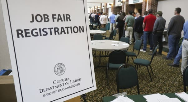 In this April 2, 2015, photo, a crowd gathers for a huge 15-county job fair at The Colonnade in Ringgold, Ga. The Labor Department releases weekly jobless claims on Thursday, June 4, 2015. (Dan Henry/Chattanooga Times Free Press via AP) THE DAILY CITIZEN OUT; NOOGA.COM OUT; CLEVELAND DAILY BANNER OUT; LOCAL INTERNET OUT