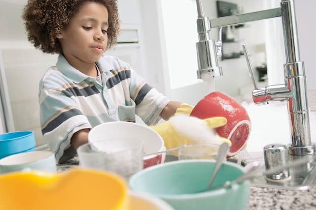 Boy washing dishes, kids, chores, cleaning