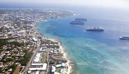 aerial view of downtown Georgetown showing cruise ships in the harbor