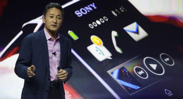 Germany Gadget Show Sony Xperia (Kazuo Hirai, President and CEO of Sony walks in front of a Sony Smart Watch II during the prese