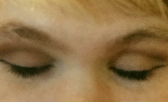 photo close up of result of scotch tape eyeliner tutorial