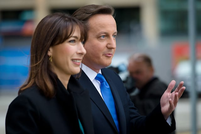 British Prime Minister David Cameron and his wife Samantha