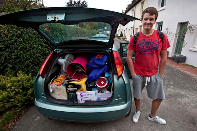 A University Student Preparing To Leave Home For The First Time To Go To University , Sussex, England