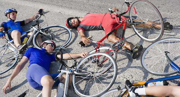 Cyclists after crash