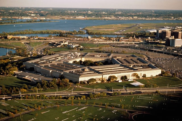 Aerial view of the Pentagon,with the Potomac river in the background