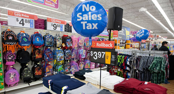 Balloon advertising the sales tax holiday for consumers at a San Marcos, Texas Wal-Mart Supercenter