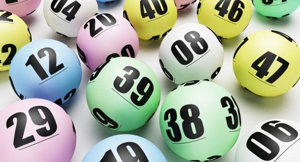 Multicolored lottery or bingo balls