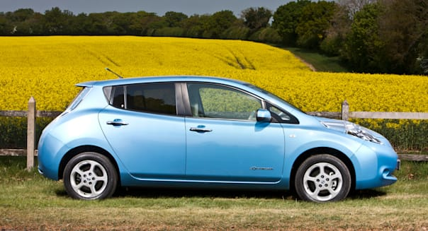 Nissan Leaf five-door hatchback electric car, Winchester, UK, 28 04 2011
