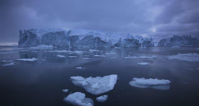Blue icebergs in arctic ocean near Ilulissat