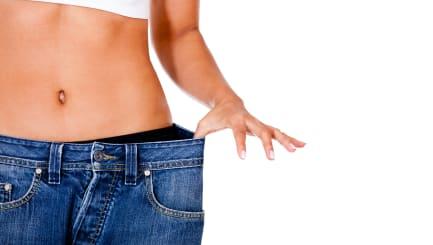 thin woman in big pants  ...