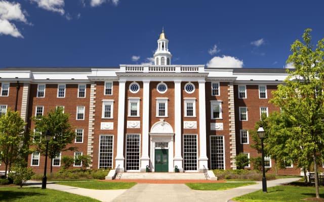 Harvard Business school building in Cambridge Massachusetts USA