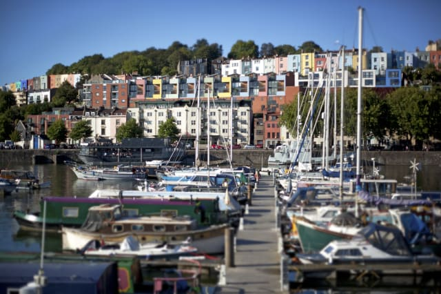 View over Bristol Marina to colourful houses