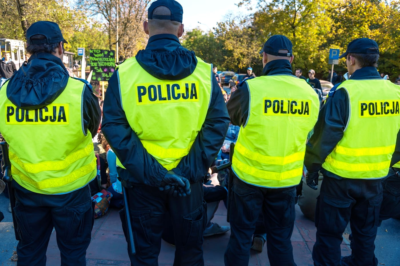 Police patrol in Wroclaw, Poland