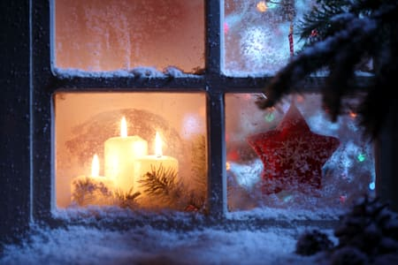 frosted window with christmas...