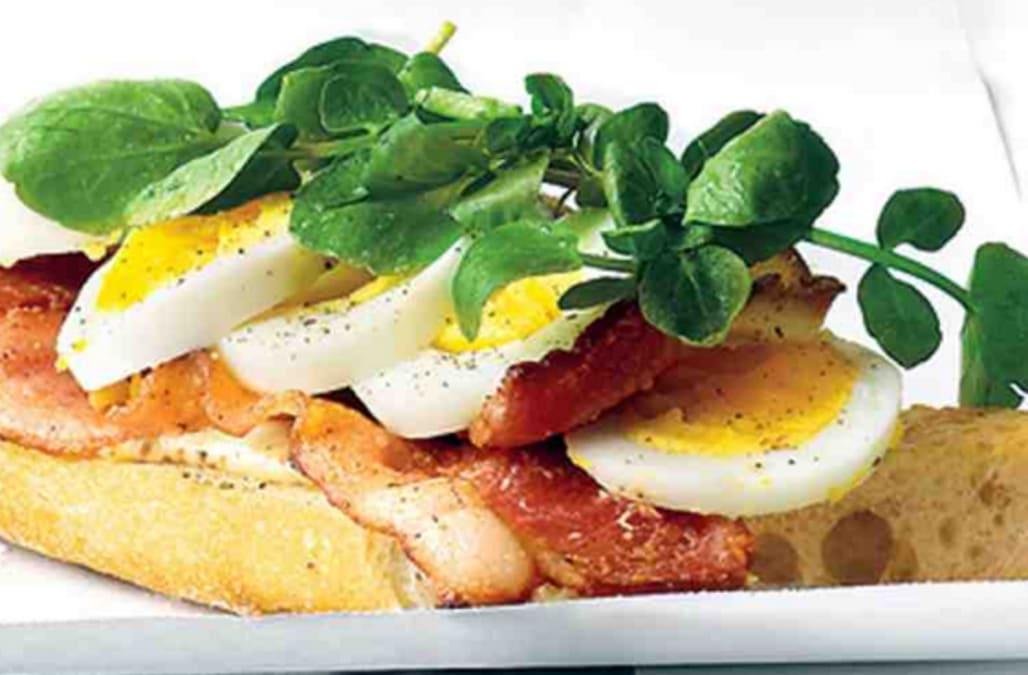 Open-Faced Egg, Bacon, and Watercress Sandwich - AOL.com