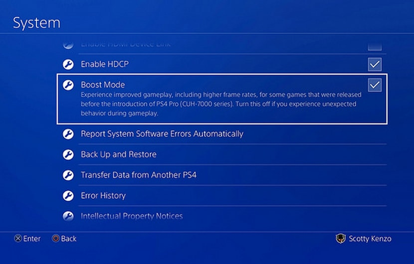 PS4 Pro Boost Modus Settings