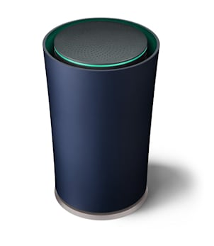 This undated photo provided by Google shows Google's Wi-Fi router.  Pre-orders for the $199 wireless router, called OnHub, can be made beginning Tuesday, Aug. 18, 2015 at Google's online store, Amazon.com and Walmart.com.  The Mountain View, California, company is promising its wireless router will be sleeker, more reliable, more secure and easier to use than other long-established alternatives made by the Arris Group, Netgear, Apple and other hardware specialists.  (Sandbox Studio/Courtesy of Google via AP)