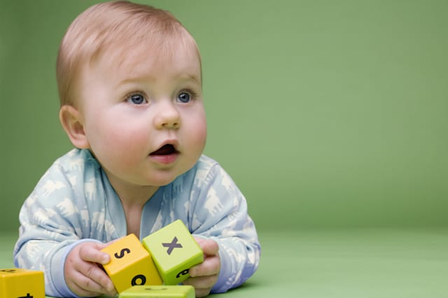 Baby holding building blocks