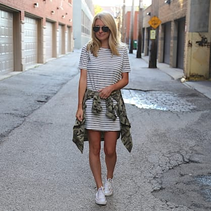 Street style tip of the day: Camo & stripes