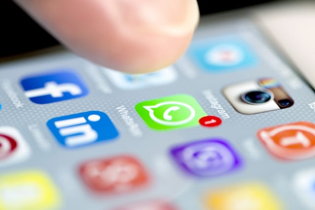 Istanbul, Turkey - September 18, 2015: Apple Iphone 6 screen with social media applications of Whatsapp, Facebook, Instagram, Vi